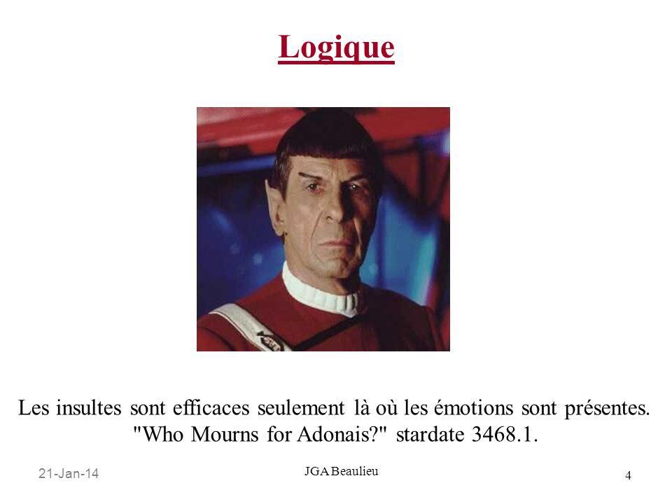 21-Jan-14 4 JGA Beaulieu Logique Les insultes sont efficaces seulement là où les émotions sont présentes.