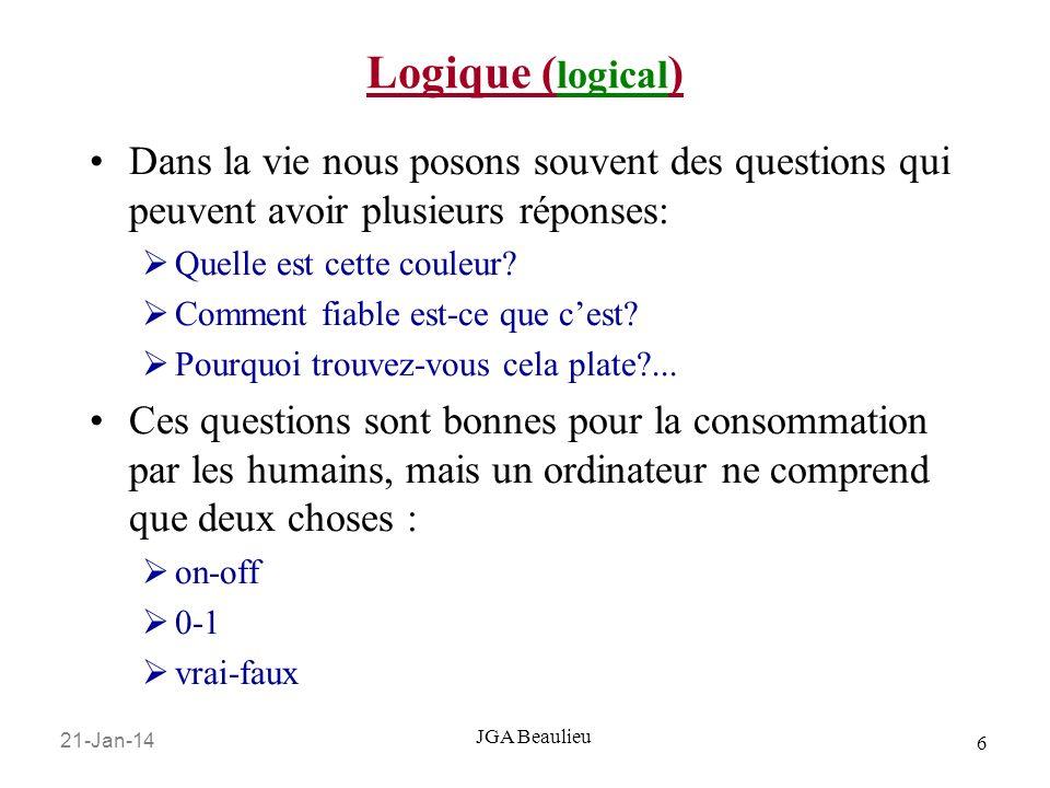 21-Jan-14 6 JGA Beaulieu Logique ( logical ) Dans la vie nous posons souvent des questions qui peuvent avoir plusieurs réponses: Quelle est cette coul