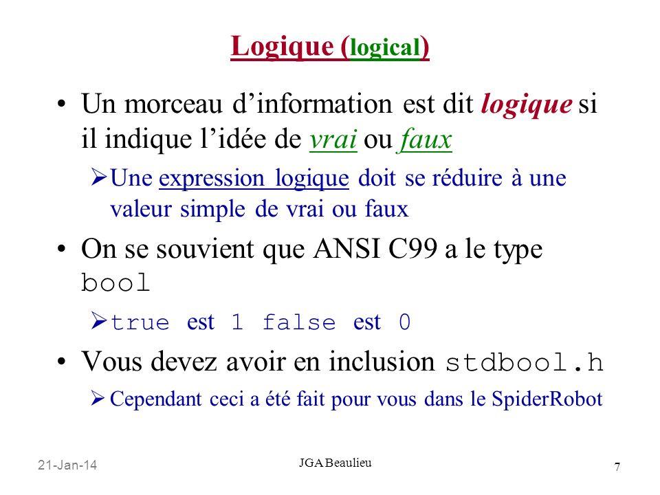 21-Jan-14 7 JGA Beaulieu Logique ( logical ) Un morceau dinformation est dit logique si il indique lidée de vrai ou faux Une expression logique doit s