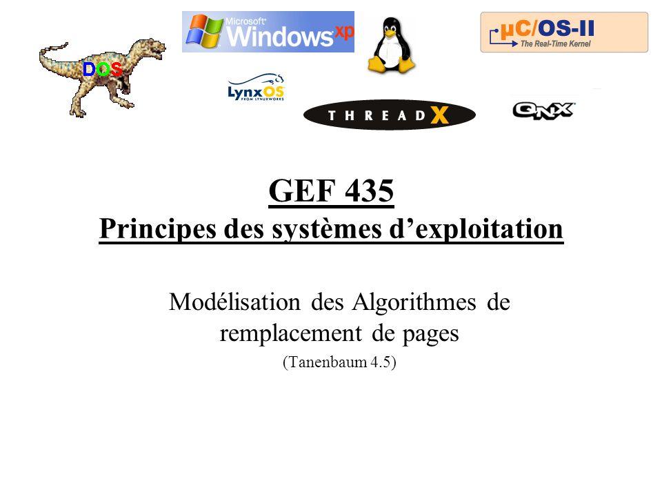 GEF 435 Principes des systèmes dexploitation Modélisation des Algorithmes de remplacement de pages (Tanenbaum 4.5)