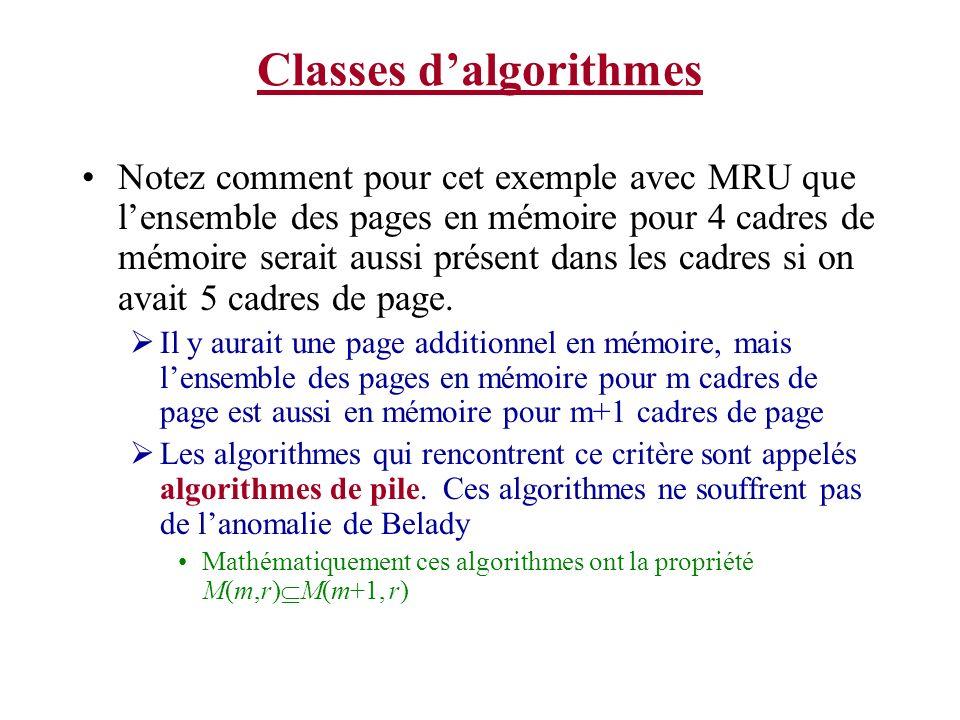 Classes dalgorithmes Notez comment pour cet exemple avec MRU que lensemble des pages en mémoire pour 4 cadres de mémoire serait aussi présent dans les