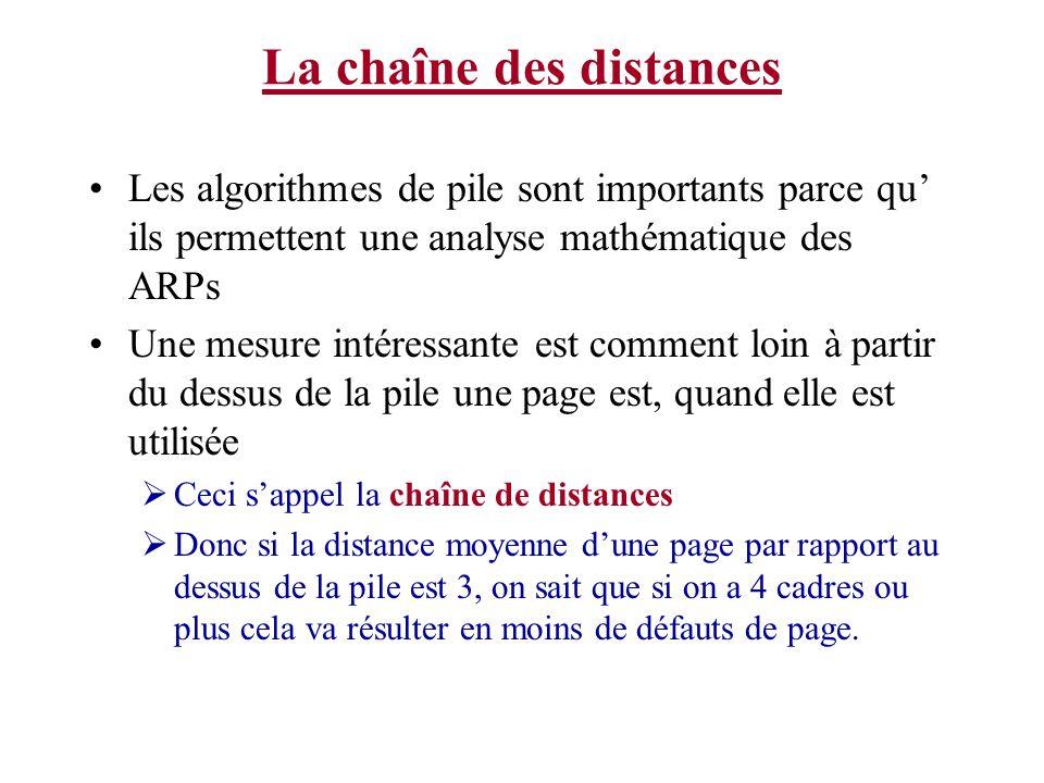 La chaîne des distances Les algorithmes de pile sont importants parce qu ils permettent une analyse mathématique des ARPs Une mesure intéressante est