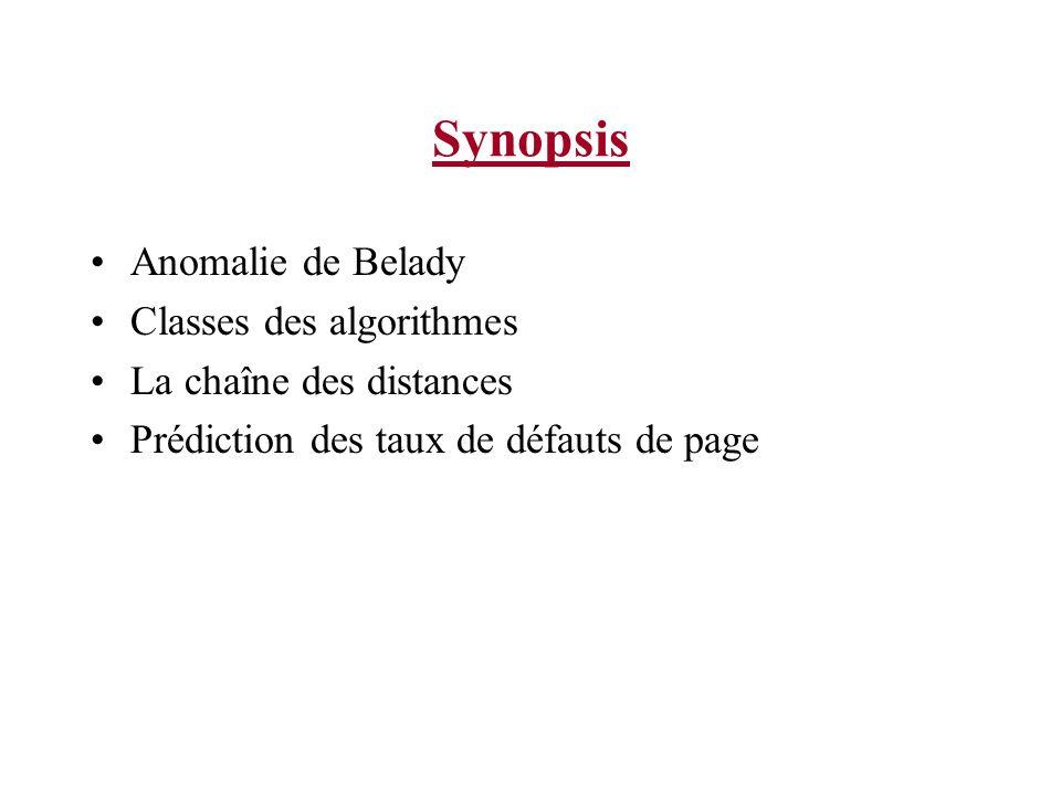 Synopsis Anomalie de Belady Classes des algorithmes La chaîne des distances Prédiction des taux de défauts de page