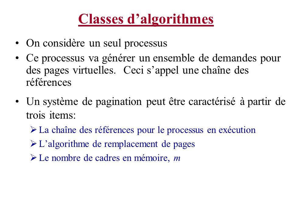 Classes dalgorithmes En utilisant cette information, les propriétés dun modèle peuvent être étudiées en analysant la façon dont les pages sont gardées en mémoire On maintien un tableau, M, qui trace létat de la mémoire.