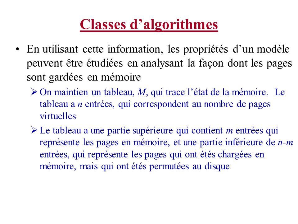 Classes dalgorithmes En utilisant cette information, les propriétés dun modèle peuvent être étudiées en analysant la façon dont les pages sont gardées