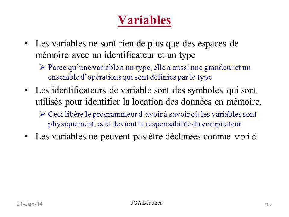 21-Jan-14 17 JGA Beaulieu Variables Les variables ne sont rien de plus que des espaces de mémoire avec un identificateur et un type Parce quune variab