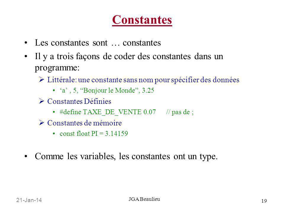 21-Jan-14 19 JGA Beaulieu Constantes Les constantes sont … constantes Il y a trois façons de coder des constantes dans un programme: Littérale: une co