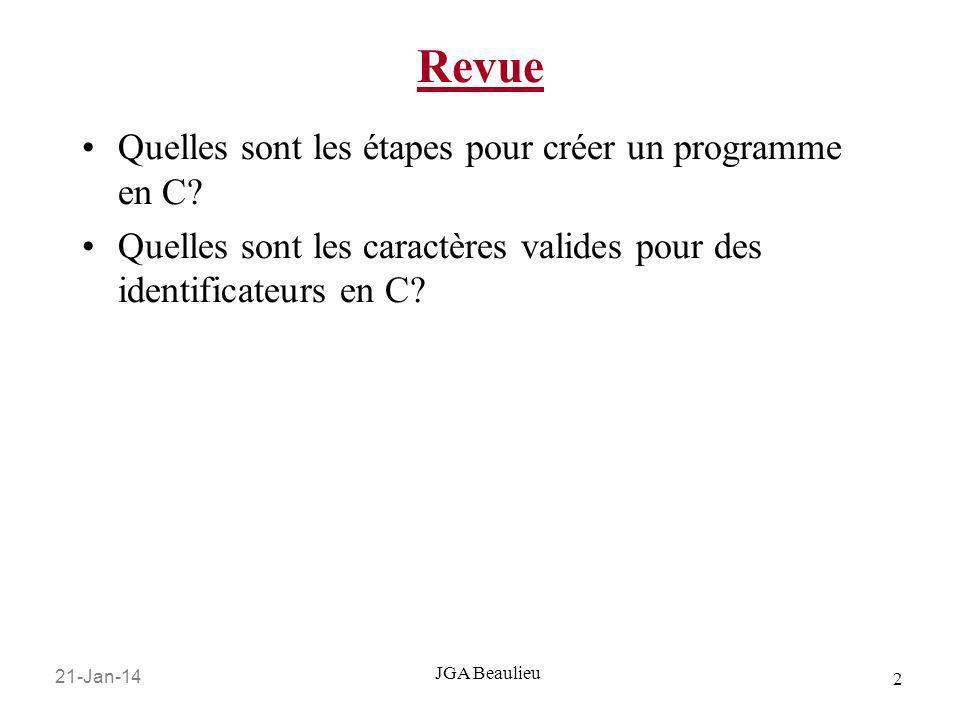 21-Jan-14 2 JGA Beaulieu Revue Quelles sont les étapes pour créer un programme en C? Quelles sont les caractères valides pour des identificateurs en C