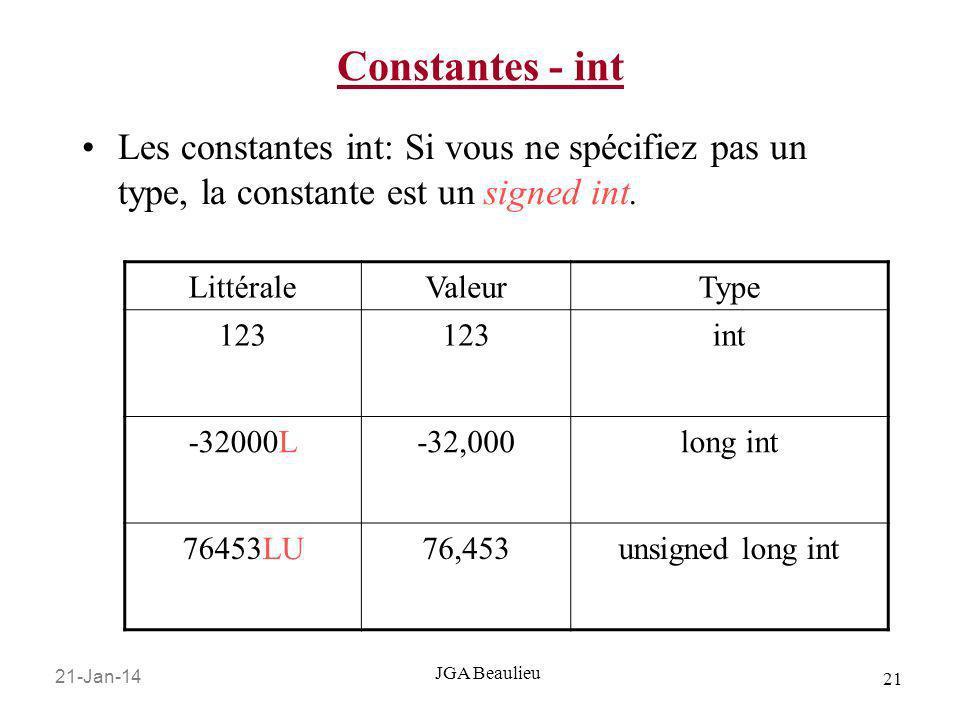 21-Jan-14 21 JGA Beaulieu Constantes - int Les constantes int: Si vous ne spécifiez pas un type, la constante est un signed int. LittéraleValeurType 1