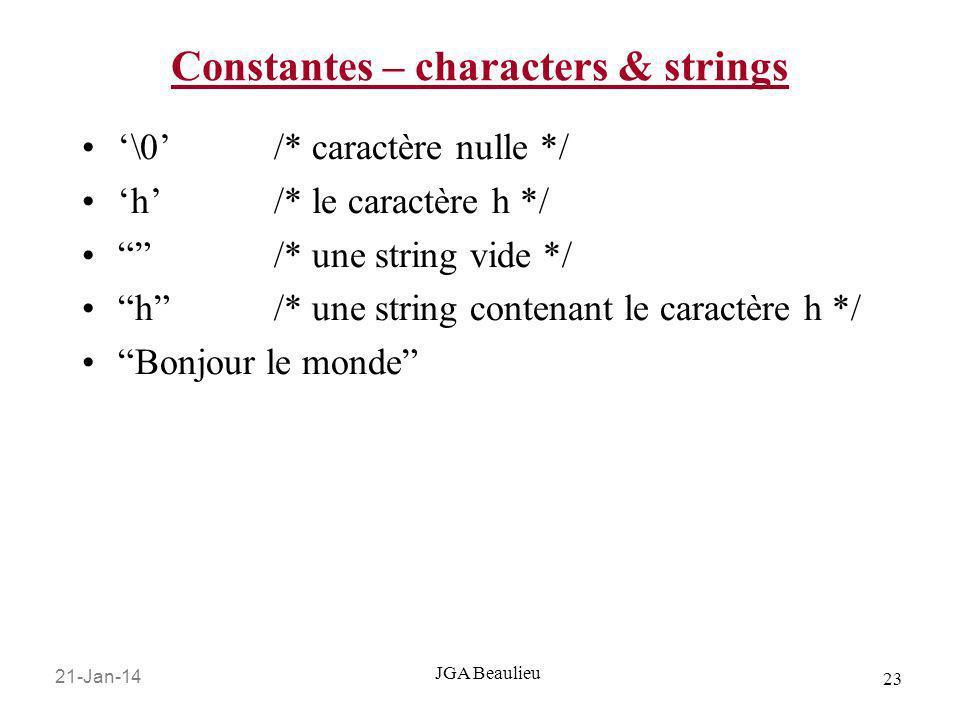 21-Jan-14 23 JGA Beaulieu Constantes – characters & strings \0/* caractère nulle */ h/* le caractère h */ /* une string vide */ h /* une string conten