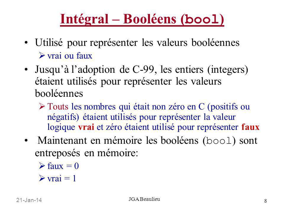 21-Jan-14 19 JGA Beaulieu Constantes Les constantes sont … constantes Il y a trois façons de coder des constantes dans un programme: Littérale: une constante sans nom pour spécifier des données a, 5, Bonjour le Monde, 3.25 Constantes Définies #define TAXE_DE_VENTE 0.07 // pas de ; Constantes de mémoire const float PI = 3.14159 Comme les variables, les constantes ont un type.