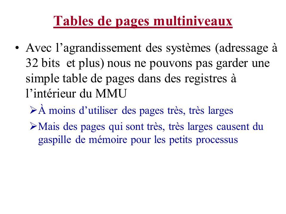 Tables de pages multiniveaux Considérez: plusieurs programmes, en fait la majorité des programmes nutiliseront pas entièrement leur espace de mémoire virtuel.