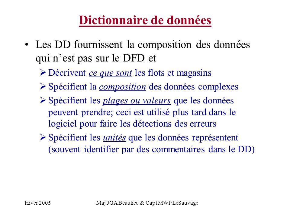 Hiver 2005Maj JGA Beaulieu & Capt MWP LeSauvage Dictionnaire de données Les DD fournissent la composition des données qui nest pas sur le DFD et Décrivent ce que sont les flots et magasins Spécifient la composition des données complexes Spécifient les plages ou valeurs que les données peuvent prendre; ceci est utilisé plus tard dans le logiciel pour faire les détections des erreurs Spécifient les unités que les données représentent (souvent identifier par des commentaires dans le DD)