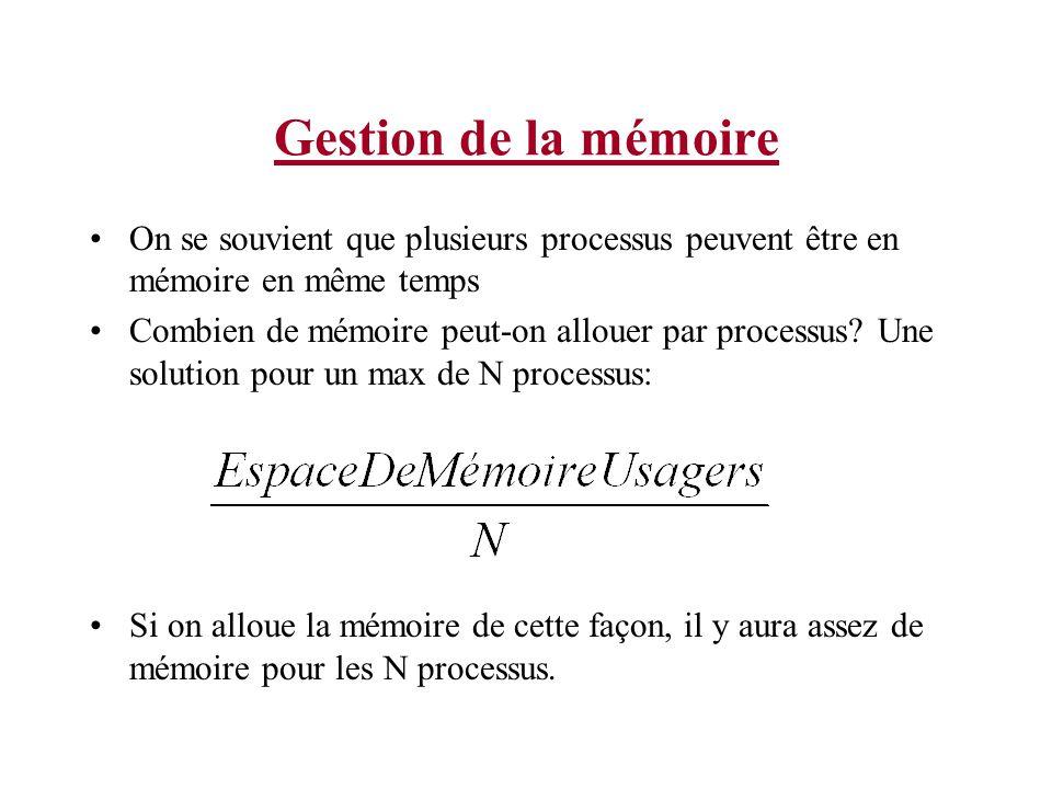 Gestion de la mémoire On se souvient que plusieurs processus peuvent être en mémoire en même temps Combien de mémoire peut-on allouer par processus.