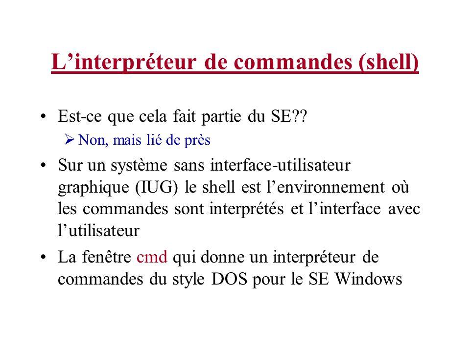 Linterpréteur de commandes (shell) Est-ce que cela fait partie du SE .