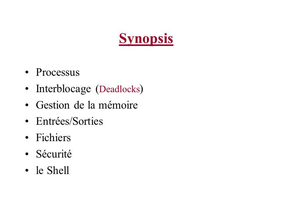 Synopsis Processus Interblocage ( Deadlocks ) Gestion de la mémoire Entrées/Sorties Fichiers Sécurité le Shell