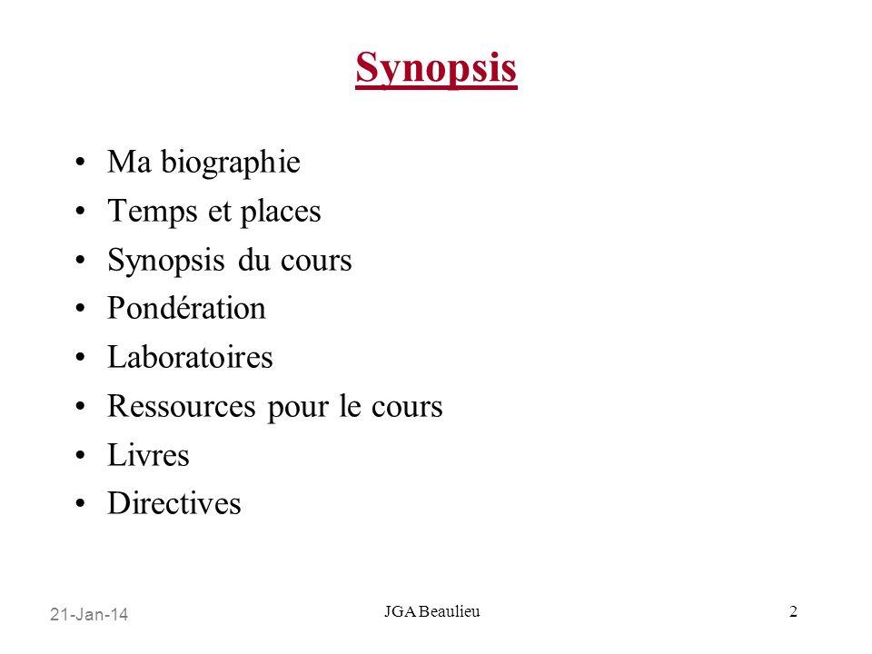 21-Jan-14 JGA Beaulieu Synopsis Ma biographie Temps et places Synopsis du cours Pondération Laboratoires Ressources pour le cours Livres Directives 2