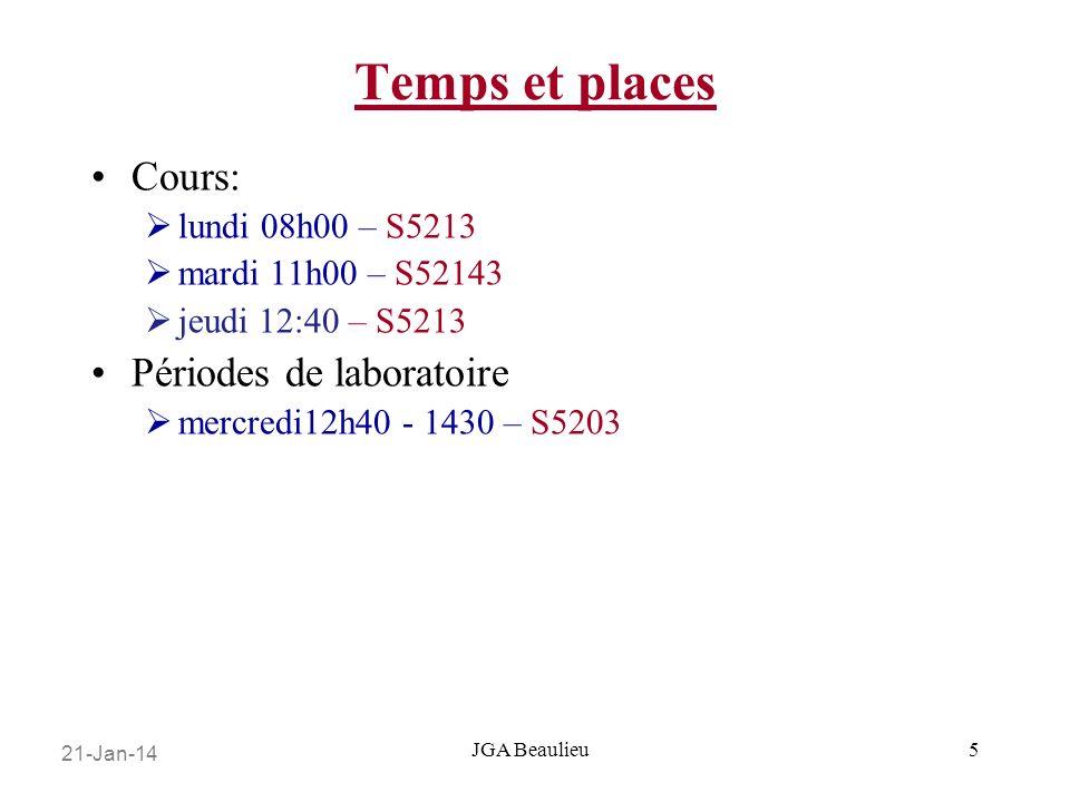 21-Jan-14 JGA Beaulieu Temps et places Cours: lundi 08h00 – S5213 mardi 11h00 – S52143 jeudi 12:40 – S5213 Périodes de laboratoire mercredi12h40 - 1430 – S5203 5
