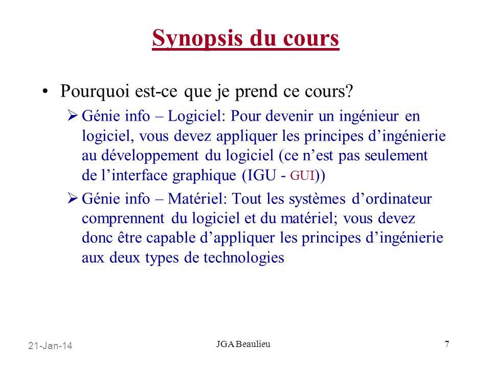 21-Jan-14 JGA Beaulieu Synopsis du cours Pourquoi est-ce que je prend ce cours.