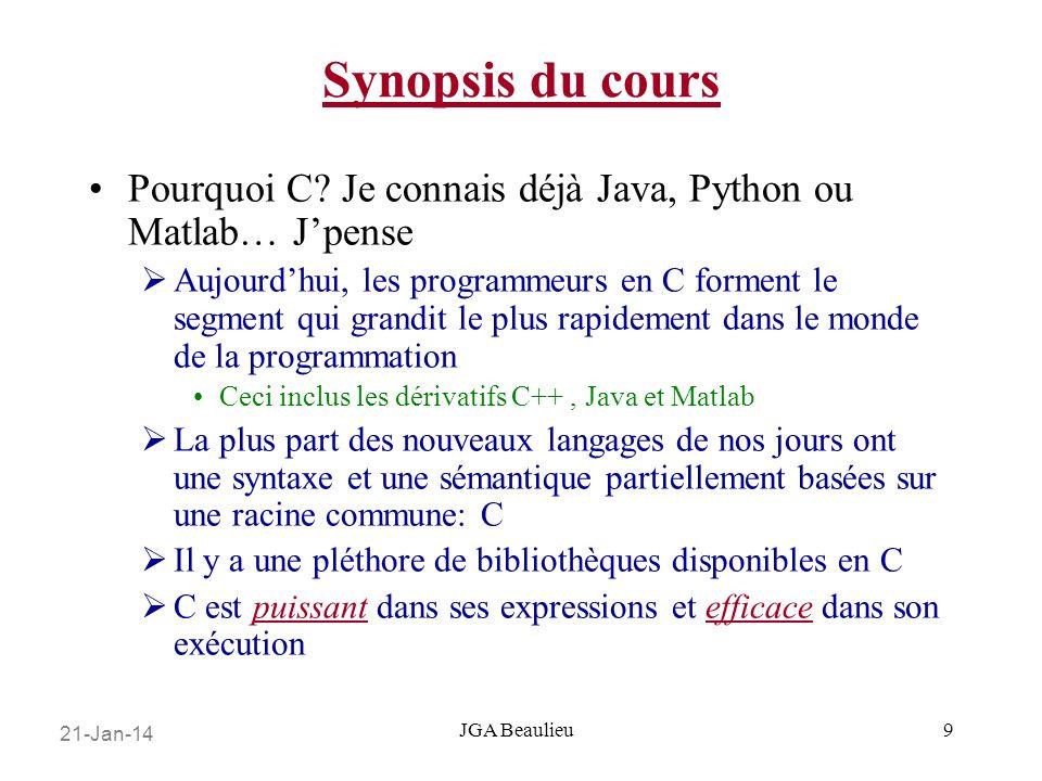 21-Jan-14 JGA Beaulieu Synopsis du cours Pourquoi C.