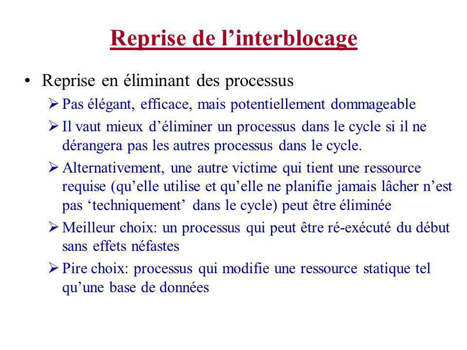 Reprise de linterblocage Reprise en éliminant des processus Pas élégant, efficace, mais potentiellement dommageable Il vaut mieux déliminer un process