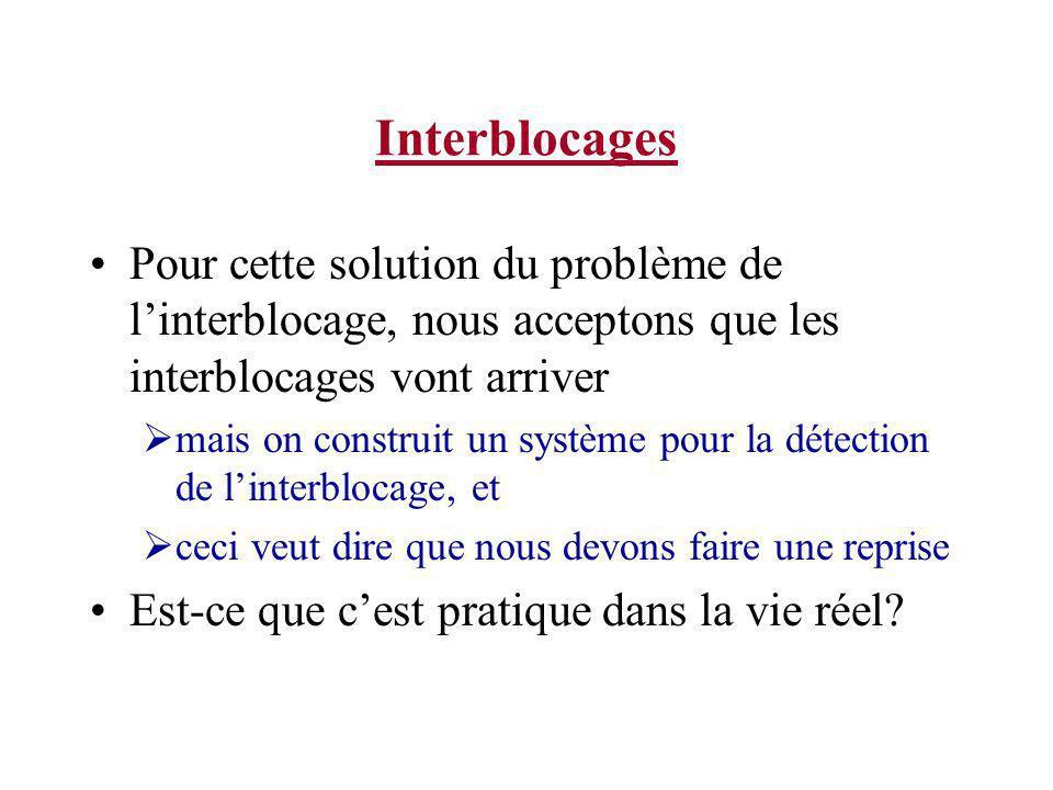 Interblocages Pour cette solution du problème de linterblocage, nous acceptons que les interblocages vont arriver mais on construit un système pour la