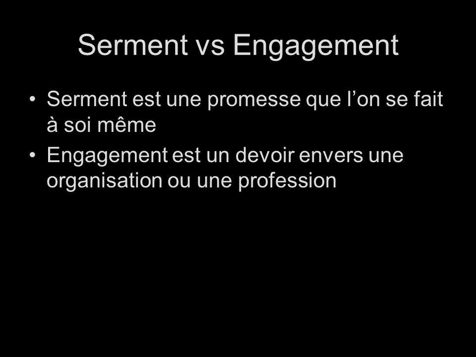 Serment vs Engagement Serment est une promesse que lon se fait à soi même Engagement est un devoir envers une organisation ou une profession