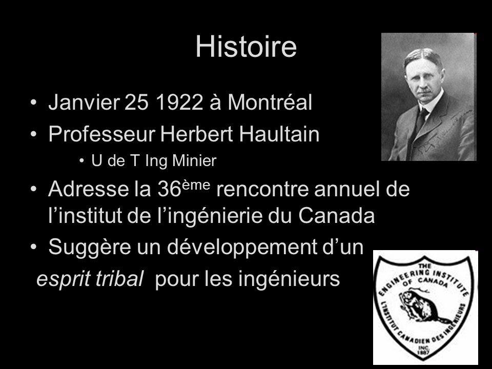 Histoire Janvier 25 1922 à Montréal Professeur Herbert Haultain U de T Ing Minier Adresse la 36 ème rencontre annuel de linstitut de lingénierie du Canada Suggère un développement dun esprit tribal pour les ingénieurs