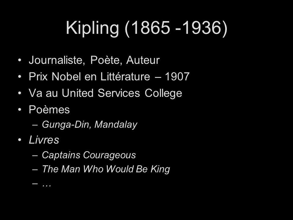 Kipling (1865 -1936) Journaliste, Poète, Auteur Prix Nobel en Littérature – 1907 Va au United Services College Poèmes –Gunga-Din, Mandalay Livres –Captains Courageous –The Man Who Would Be King –…