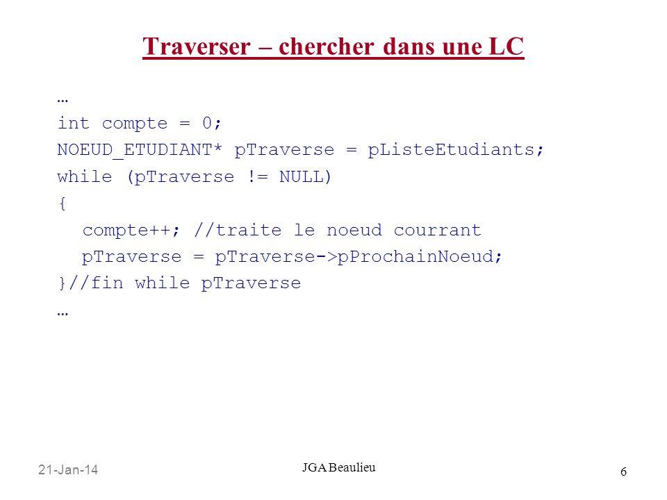 21-Jan-14 6 JGA Beaulieu Traverser – chercher dans une LC … int compte = 0; NOEUD_ETUDIANT* pTraverse = pListeEtudiants; while (pTraverse != NULL) { compte++; //traite le noeud courrant pTraverse = pTraverse->pProchainNoeud; }//fin while pTraverse …