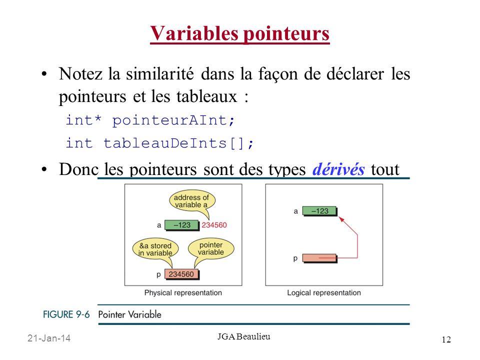 21-Jan-14 12 JGA Beaulieu Variables pointeurs Notez la similarité dans la façon de déclarer les pointeurs et les tableaux : int* pointeurAInt; int tableauDeInts[]; Donc les pointeurs sont des types dérivés tout comme les tableaux.