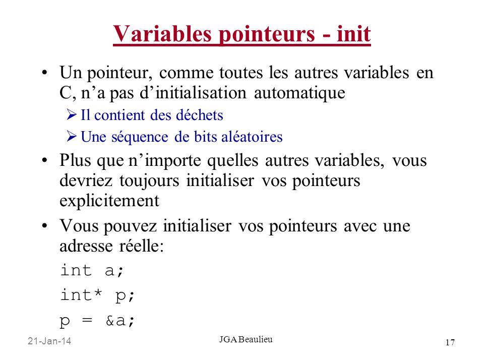 21-Jan-14 17 JGA Beaulieu Variables pointeurs - init Un pointeur, comme toutes les autres variables en C, na pas dinitialisation automatique Il contient des déchets Une séquence de bits aléatoires Plus que nimporte quelles autres variables, vous devriez toujours initialiser vos pointeurs explicitement Vous pouvez initialiser vos pointeurs avec une adresse réelle: int a; int* p; p = &a;