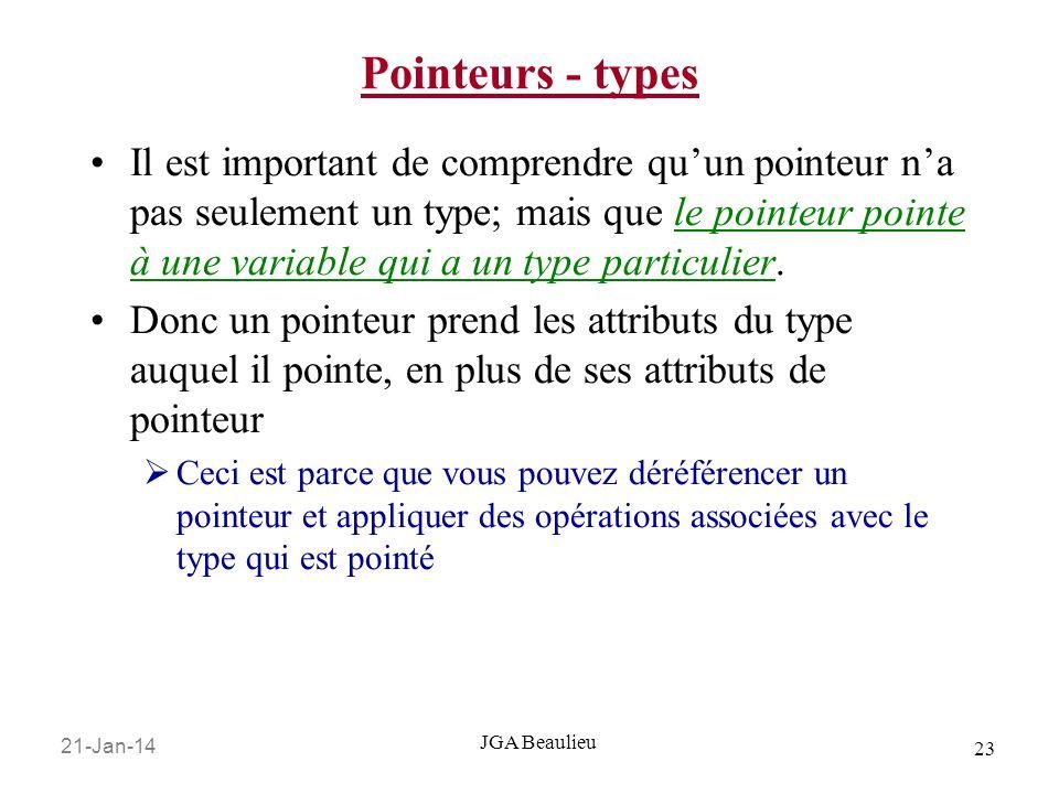 21-Jan-14 23 JGA Beaulieu Pointeurs - types Il est important de comprendre quun pointeur na pas seulement un type; mais que le pointeur pointe à une variable qui a un type particulier.