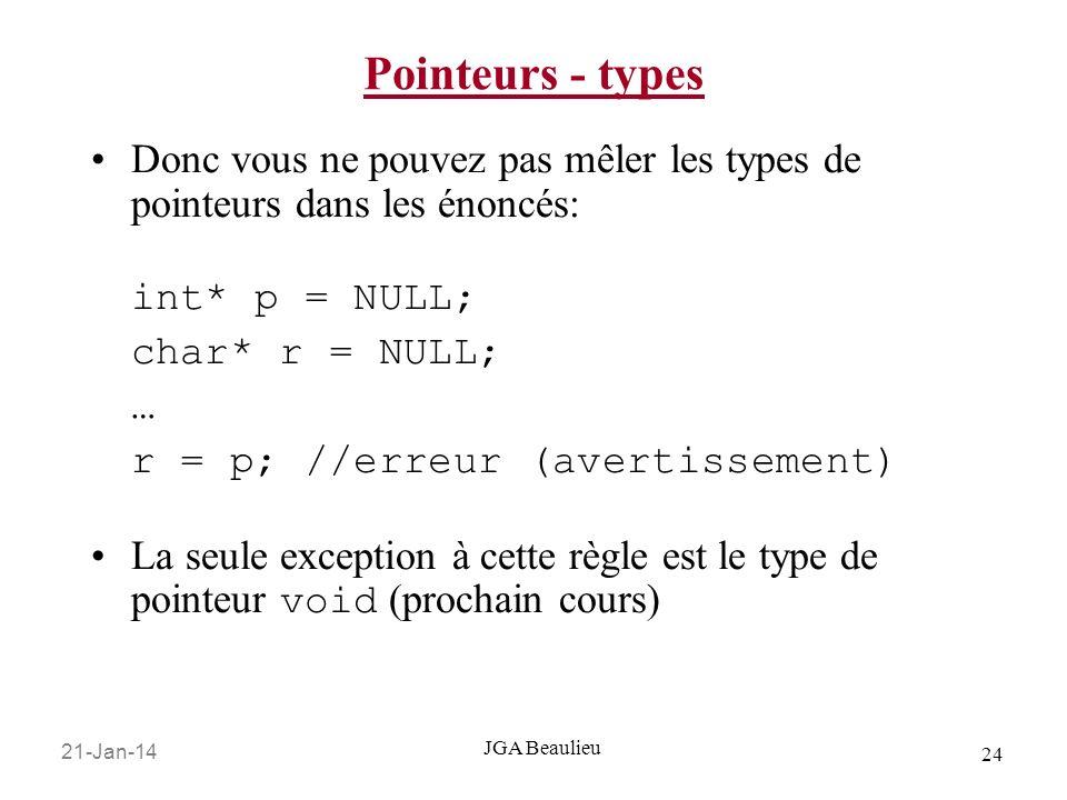 21-Jan-14 24 JGA Beaulieu Pointeurs - types Donc vous ne pouvez pas mêler les types de pointeurs dans les énoncés: int* p = NULL; char* r = NULL; … r = p; //erreur (avertissement) La seule exception à cette règle est le type de pointeur void (prochain cours)