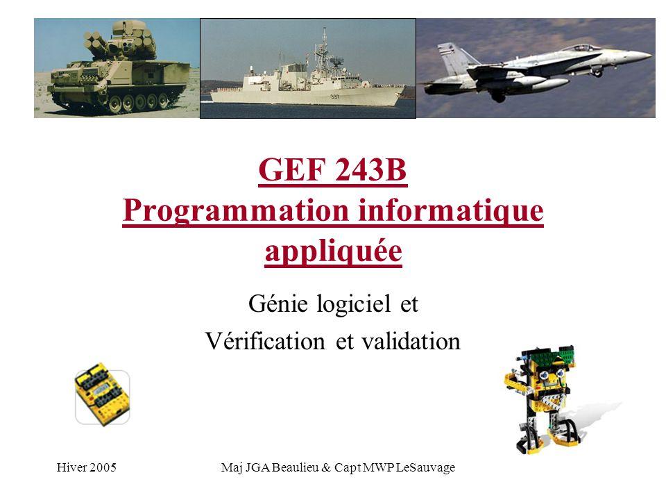 Hiver 2005Maj JGA Beaulieu & Capt MWP LeSauvage GEF 243B Programmation informatique appliquée Génie logiciel et Vérification et validation