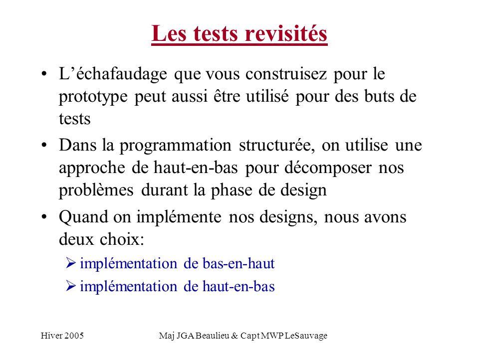 Hiver 2005Maj JGA Beaulieu & Capt MWP LeSauvage Les tests revisités Léchafaudage que vous construisez pour le prototype peut aussi être utilisé pour des buts de tests Dans la programmation structurée, on utilise une approche de haut-en-bas pour décomposer nos problèmes durant la phase de design Quand on implémente nos designs, nous avons deux choix: implémentation de bas-en-haut implémentation de haut-en-bas