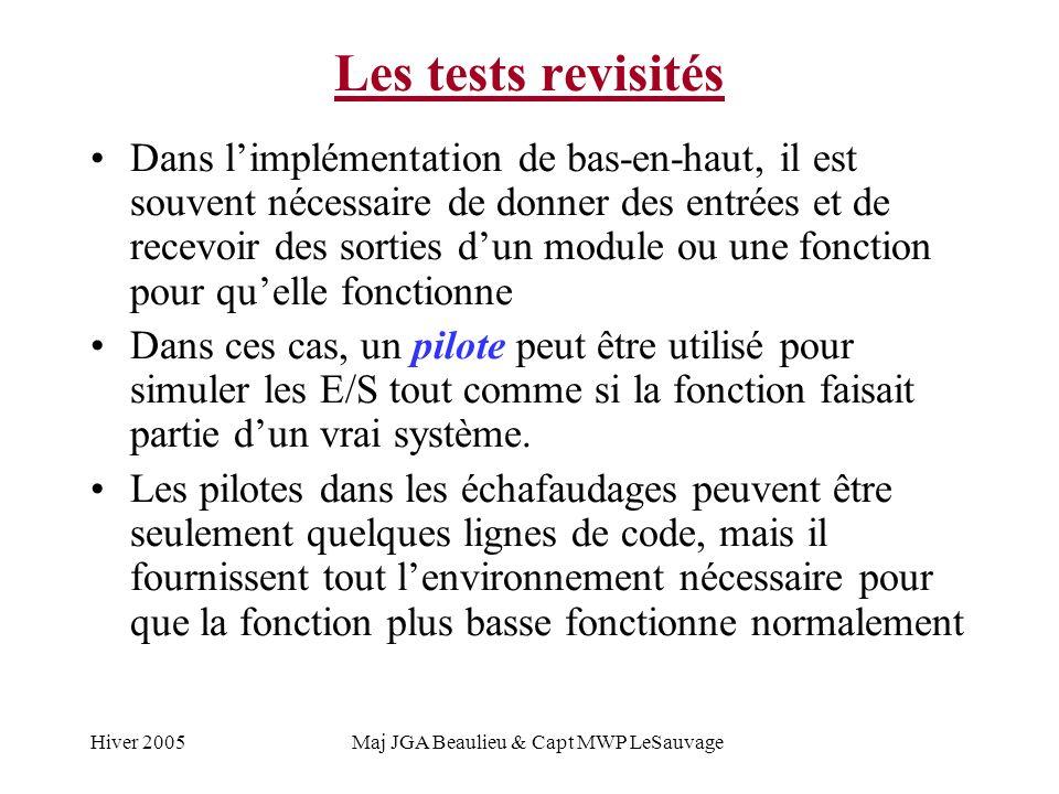 Hiver 2005Maj JGA Beaulieu & Capt MWP LeSauvage Les tests revisités Dans limplémentation de bas-en-haut, il est souvent nécessaire de donner des entrées et de recevoir des sorties dun module ou une fonction pour quelle fonctionne Dans ces cas, un pilote peut être utilisé pour simuler les E/S tout comme si la fonction faisait partie dun vrai système.