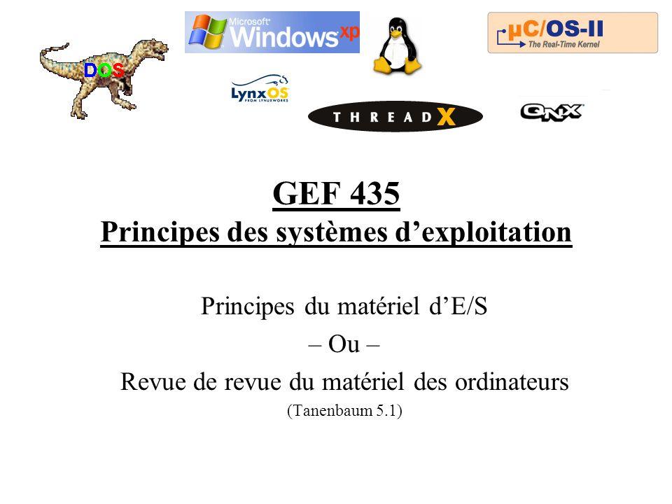 GEF 435 Principes des systèmes dexploitation Principes du matériel dE/S – Ou – Revue de revue du matériel des ordinateurs (Tanenbaum 5.1)