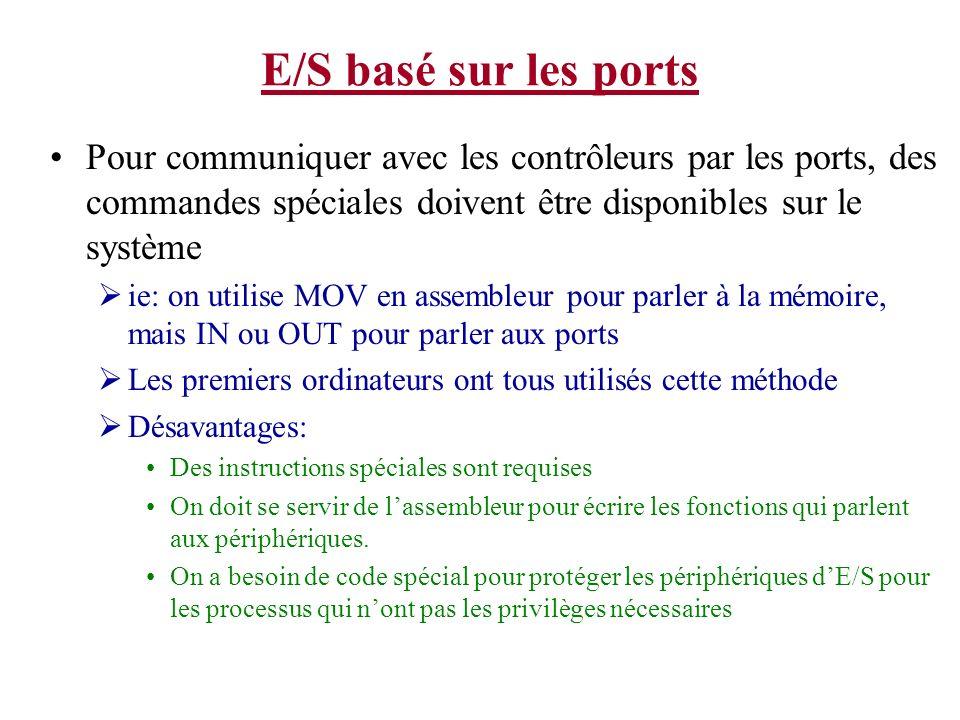 E/S basé sur les ports Pour communiquer avec les contrôleurs par les ports, des commandes spéciales doivent être disponibles sur le système ie: on uti
