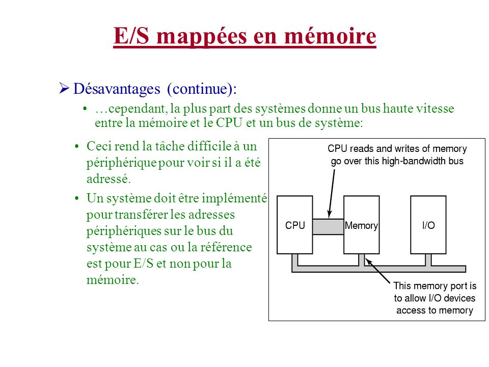 E/S mappées en mémoire Désavantages (continue): …cependant, la plus part des systèmes donne un bus haute vitesse entre la mémoire et le CPU et un bus