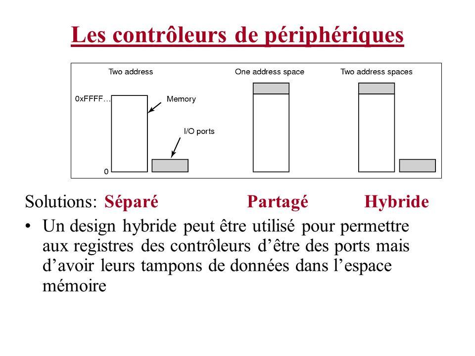 Les contrôleurs de périphériques Solutions: Séparé Partagé Hybride Un design hybride peut être utilisé pour permettre aux registres des contrôleurs dê
