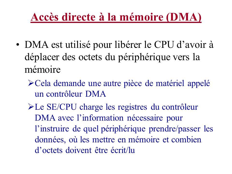 Accès directe à la mémoire (DMA) DMA est utilisé pour libérer le CPU davoir à déplacer des octets du périphérique vers la mémoire Cela demande une aut