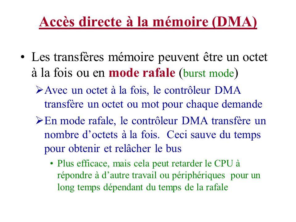 Accès directe à la mémoire (DMA) Les transfères mémoire peuvent être un octet à la fois ou en mode rafale ( burst mode ) Avec un octet à la fois, le c