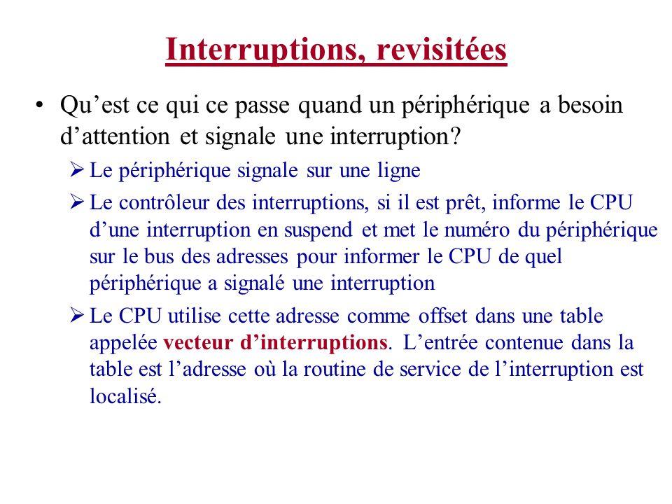 Interruptions, revisitées Quest ce qui ce passe quand un périphérique a besoin dattention et signale une interruption? Le périphérique signale sur une