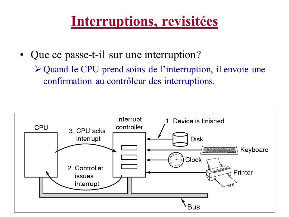 Interruptions, revisitées Que ce passe-t-il sur une interruption? Quand le CPU prend soins de linterruption, il envoie une confirmation au contrôleur