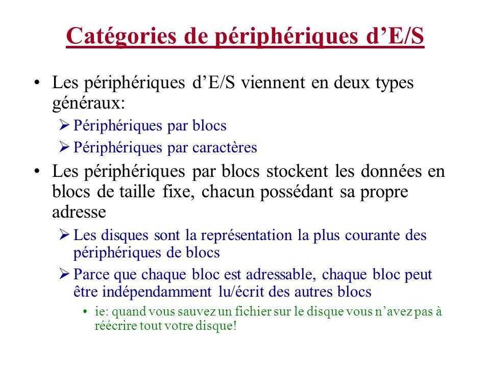 Catégories de périphériques dE/S Les périphériques dE/S viennent en deux types généraux: Périphériques par blocs Périphériques par caractères Les péri