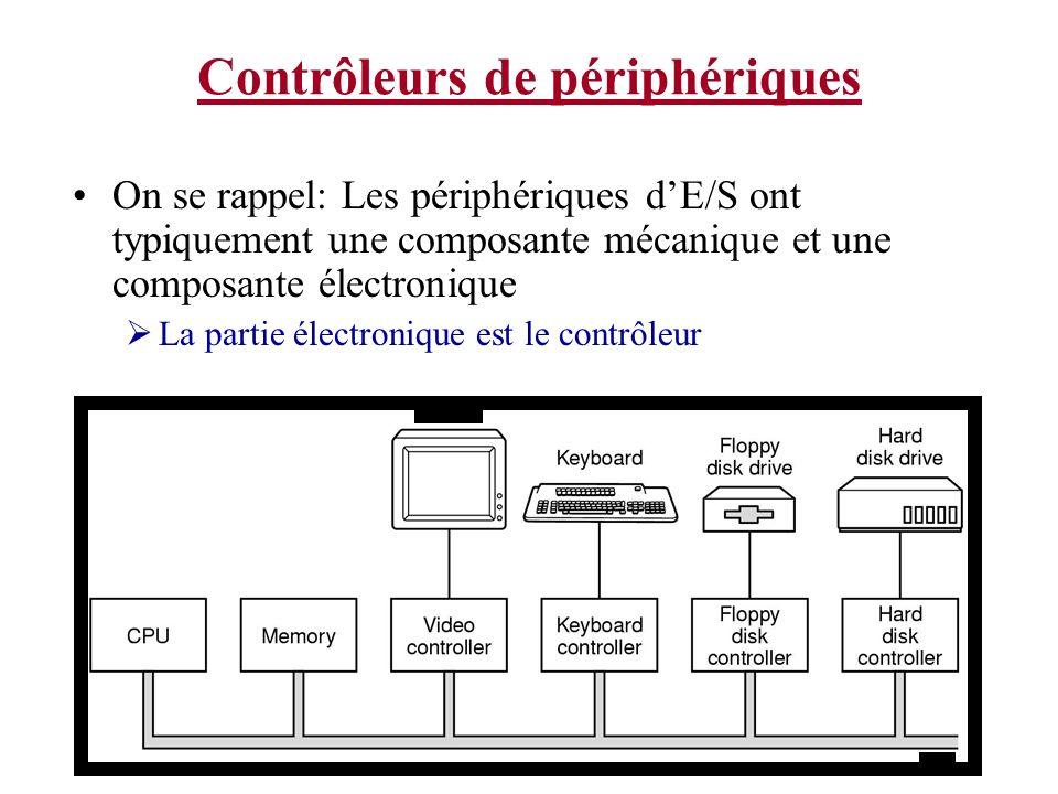 Contrôleurs de périphériques On se rappel: Les périphériques dE/S ont typiquement une composante mécanique et une composante électronique La partie él