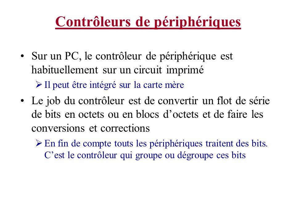 Contrôleurs de périphériques Sur un PC, le contrôleur de périphérique est habituellement sur un circuit imprimé Il peut être intégré sur la carte mère