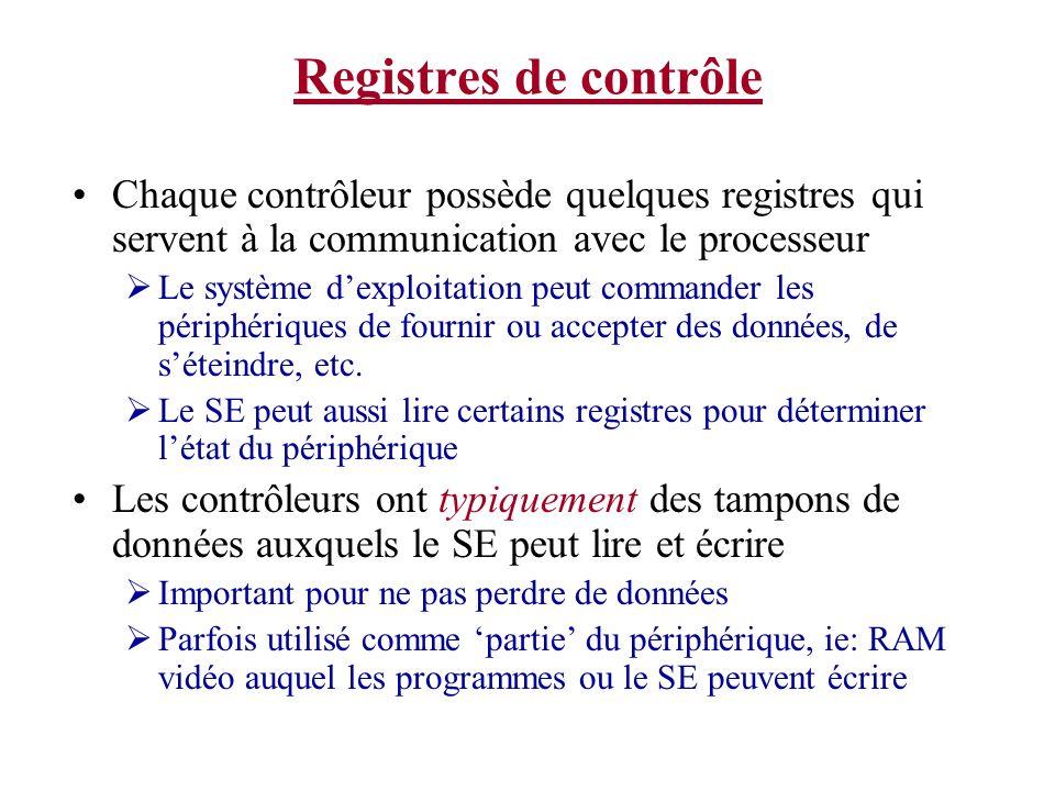 Registres de contrôle Chaque contrôleur possède quelques registres qui servent à la communication avec le processeur Le système dexploitation peut com