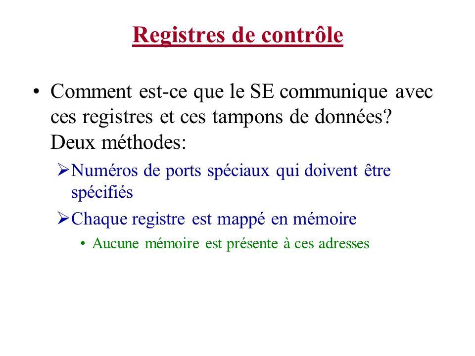 Registres de contrôle Comment est-ce que le SE communique avec ces registres et ces tampons de données? Deux méthodes: Numéros de ports spéciaux qui d